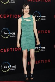 Elliot Page looked more beautiful than ever in a ruched green cutout dress from the Resort 2011 collection.
