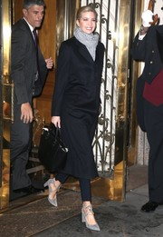 Ivanka Trump was winter-chic in a black coat teamed with a gray knit scarf while out in New York City.