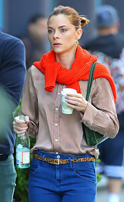 Jaime King added a pair of black freshwater pearl spike earrings to her causal look while out and about in NYC.