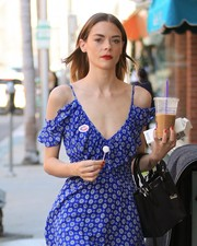 Jaime King headed out in Beverly Hills carrying a Michael Kors Gracie tote.