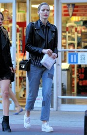 Jaime King ran errands in New York City looking moto-chic in a black leather jacket.