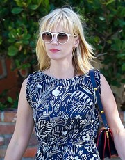 January Jones kept the sun out with a pair of round shades while strolling in Santa Monica.