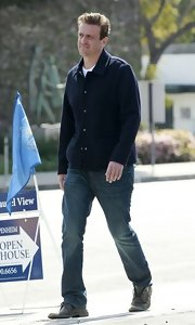 Jason Segel took a stroll while sporting a cool navy jacket.