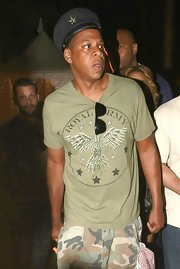 Jay-Z rocks an olive green army tee at the Coachella film festival.