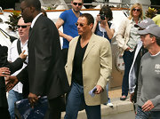 Jean-Claude Van Damme dressed up his black shirt and jeans combo with a beige blazer at the Cannes Film Festival.