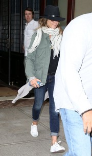 Jennifer Aniston stepped out in New York looking edgy in a military jacket.
