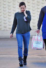 Jennifer Garner stayed casual during a trip to the grocery store in a pair of black mid-calf motorcycle boots.