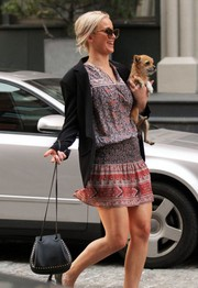 Jennifer Lawrence topped off her outfit with a studded shoulder bag by Chloe.