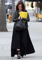 Jennifer Love Hewitt strutted through Beverly Hills in hyper sexy black leather platform wraparound sandals.