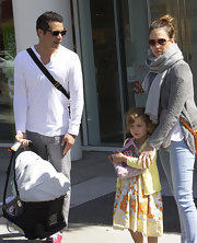 Cash Warren was low-key in a white Henley and gray jeans while out with his family.