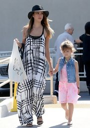 Jessica Alba chose a black and white flowing maxi for her boho-chic look while out with her daughter, Honor.