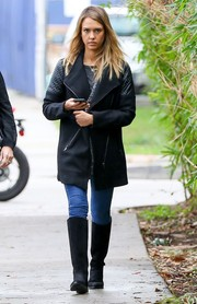 Jessica Alba looked tough in a black leather-panel coat by Heartloom while out and about in Santa Monica.