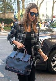 Jessica Alba put on a pair of oversized cateye sunglasses for a day out in New York City.