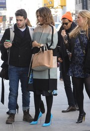 Jessica Alba cut a stylish figure in a multicolored wool coat by Chloe while out and about in New York City.