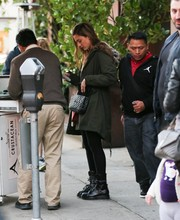 Jessica Alba went shopping in Beverly Hills wearing chunky black biker boots.