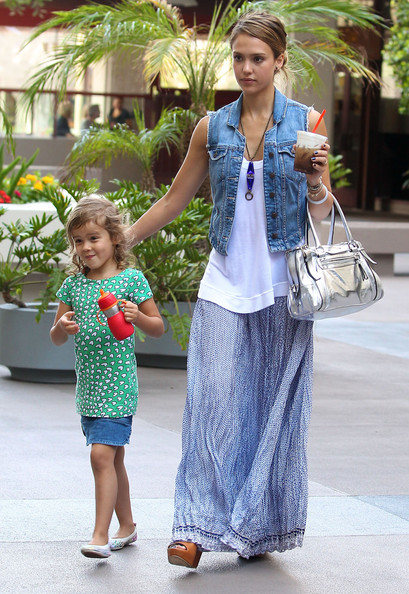 Jessica Alba Metallic Shoulder Bag