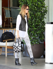 Jessica Alba's on-trend black ankle booties were a sleek finish to her chic city-girl style.