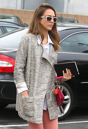 Who knew a metallic jacket could be so daytime chic? Apparently Jessica Alba did!