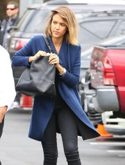 Jessica Alba stepped out in Beverly Hills carrying an oversized black leather bag.
