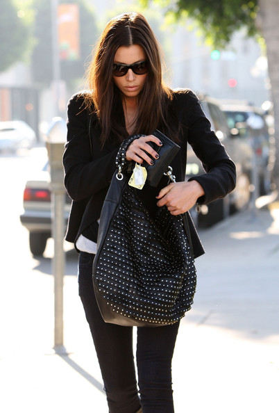 Jessica Biel Studded Hobo Bag