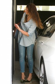 Jessica Biel was spotted outside her gym sporting a faded denim button-down.