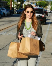 Jessica Biel headed out on a sunny day in Beverly Hills wearing a pair of brown-rimmed wayfarers.