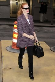 Jessica Chastain sported a patterned purple coat by Missoni for a day out in New York City.
