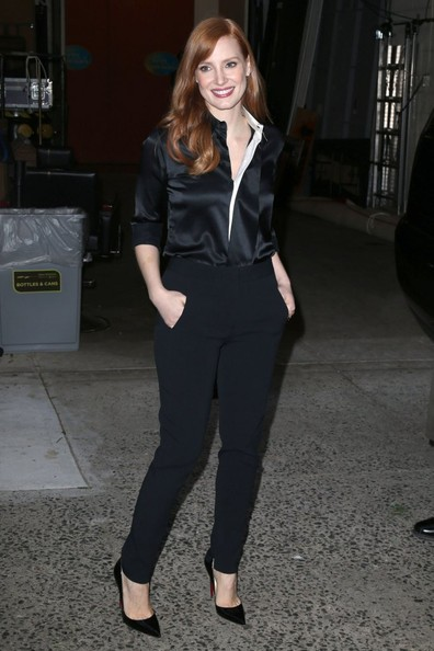 Jessica Chastain High-Waisted Pants