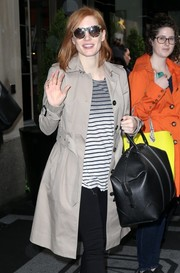 Jessica Chastain headed out in New York City wearing a pair of camo-print wayfarers.