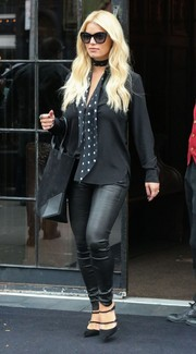Jessica Simpson was spotted at the Bowery Hotel wearing a black button-down shirt styled with a polka-dot scarf.