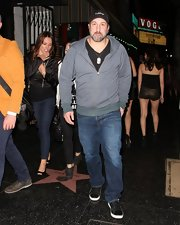Joey Fatone was spotted out in Hollywood wearing this gray, quilted, zip-up hoodie.