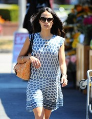 Jordana Brewster looked summery in her oversized sunnies and printed mini while running errands in Brentwood.