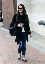 Jordana Brewster was looking sharp in a black military coat with gold buttons while shopping in Beverly Hills.
