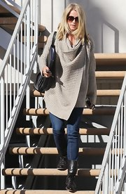 Julianne Hough kept cozy in running errands in a taupe waffle knit duster.