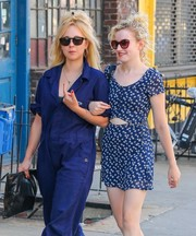 Juno Temple took a stroll in New York City wearing a pair of rectangular shades.