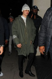 Justin Bieber enjoyed a night out wearing a military-green parka.