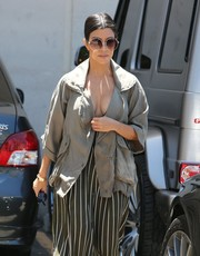 Kourtney Kardashian stepped out in Hollywood looking chic in her oversized round sunglasses.