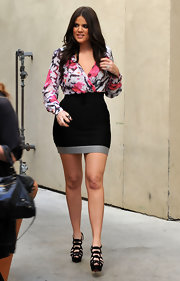 "Khloe Kardashian showed off her gams in a pair of towering Louboutin ""Larissa"" sandals."