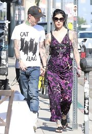 Kat Von D stepped out in the purple leopard print maxi while out in Hollywood.