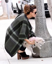 Kate walked her dog in a chunky pair of suede Spring 2010 clogs.