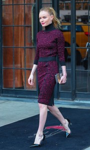 Kate Bosworth covered up in style in a purple and black Nina Ricci turtleneck while out in New York City.