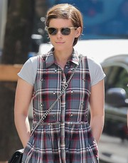 Kate Mara went for a stroll in New York City wearing a pair of gold-rimmed wayfarers.