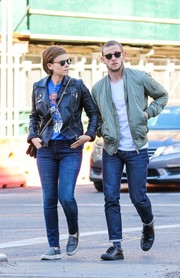 Kate Mara took a stroll in New York City wearing skinny jeans and a leather jacket.