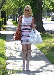 Katherine Heigl stepped out for a Mother's Day celebration wearing beige knee high boots with bow accents.