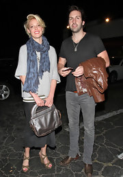 Katherine wears an abstract print scarf for her date night with husband Josh Kelley.
