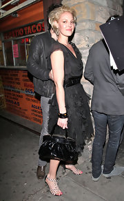 Katherine Heigl dined out in white studded leather sandals.