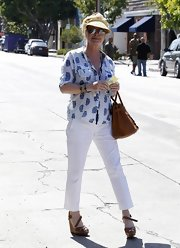 Kathy Hilton's tan wedges were a perfect blend of comfort and style.