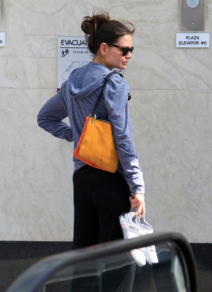 Katie Holmes Carries an Orange Suede Shoulder Bag