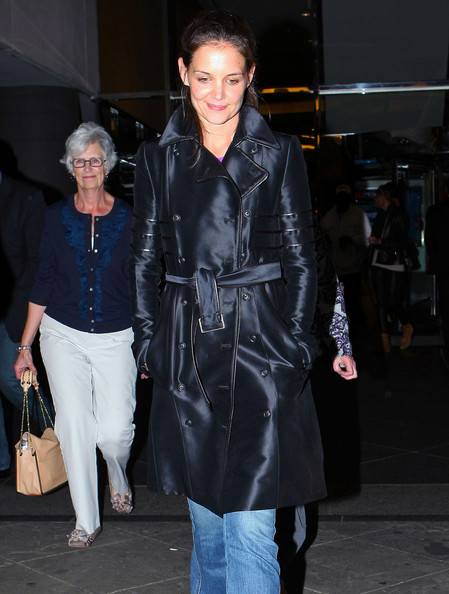 Katie Holmes And Mom Leaving Evita In New York