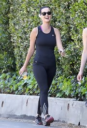 Katy Perry made even a basic black workout tank look good while on a walk in LA.